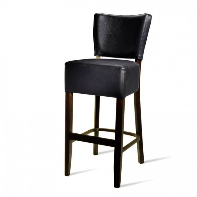 Zoom Belmont Black Faux Leather Bar Stool