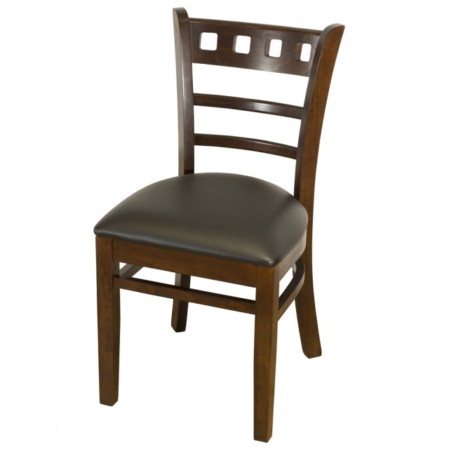 Enzo Walnut Side Chair With Black Faux Leather Seat