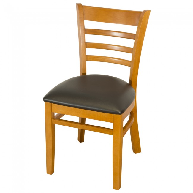 Dallas Cherry Side Chair With Black Faux Leather Seat