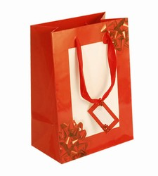 Medium Red Bow Paper Bags with Gift Tag