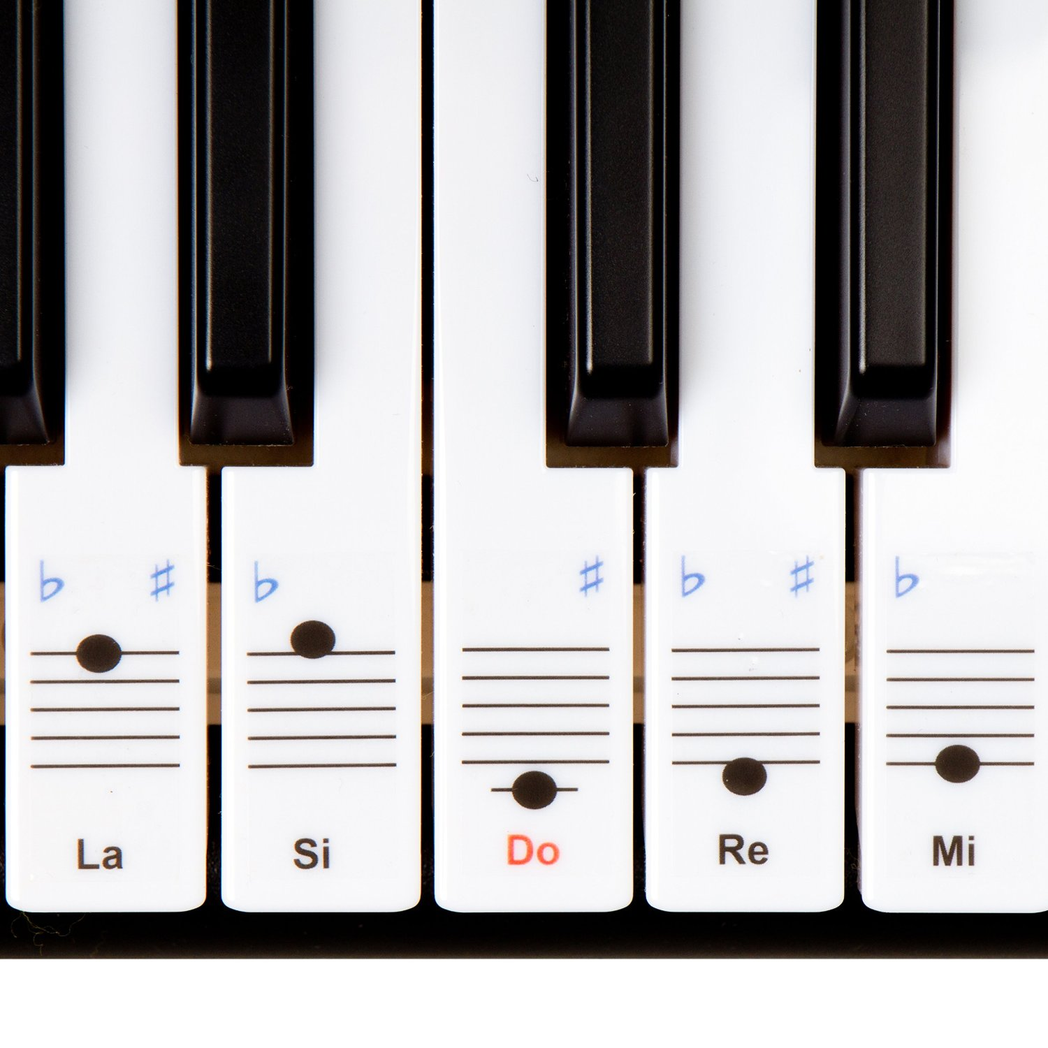 Keysies Do Re Mi (Solfege) Transparent Plastic Removable Piano and Keyboard Note Stickers