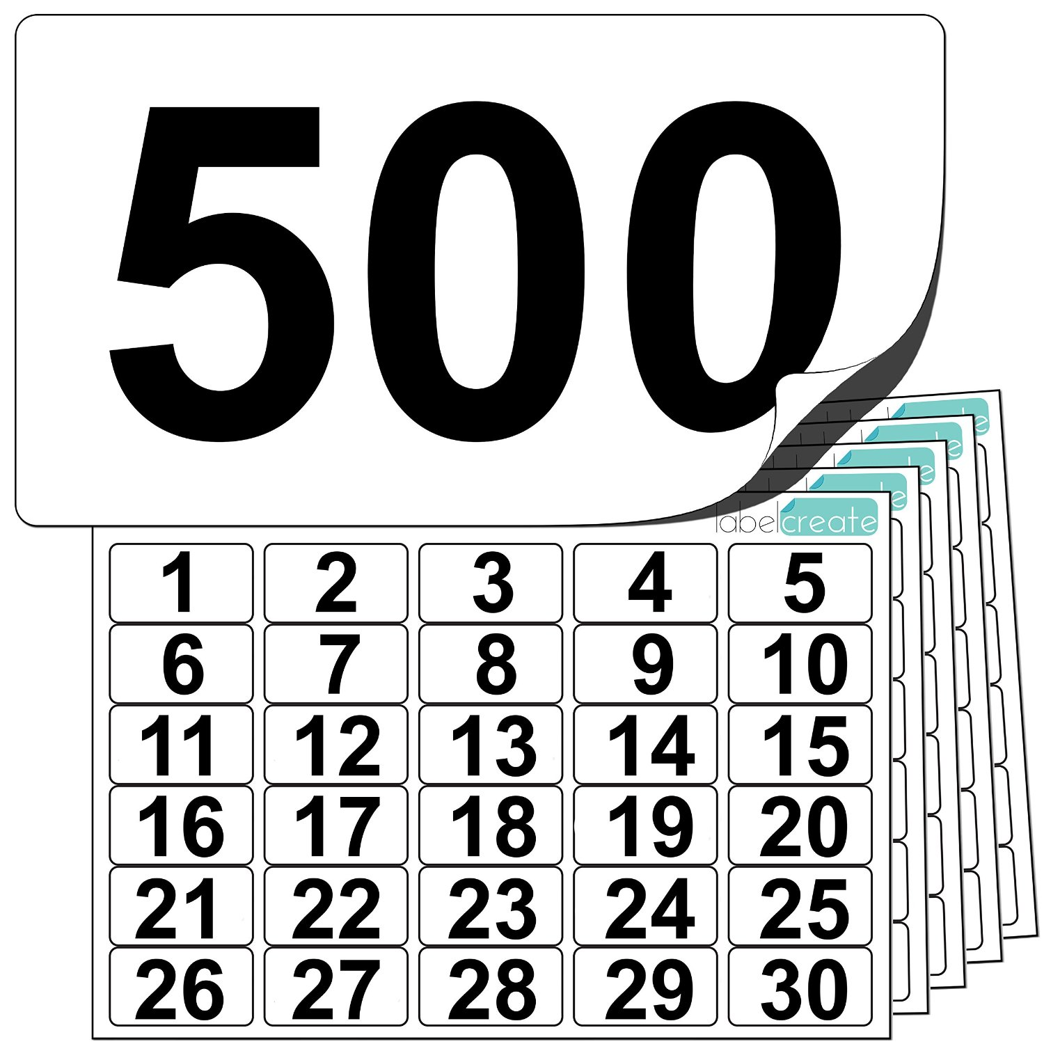 Premium Plastic Number Stickers 1 to 500 (+ 10 Blank Spares)