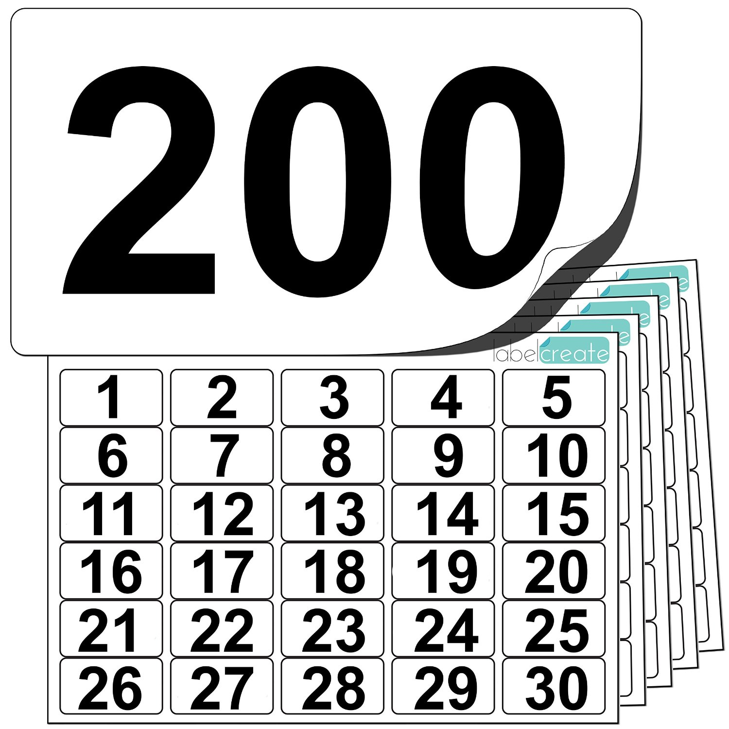 Premium Plastic Number Stickers 1 to 200 (+ 10 Blank Spares)
