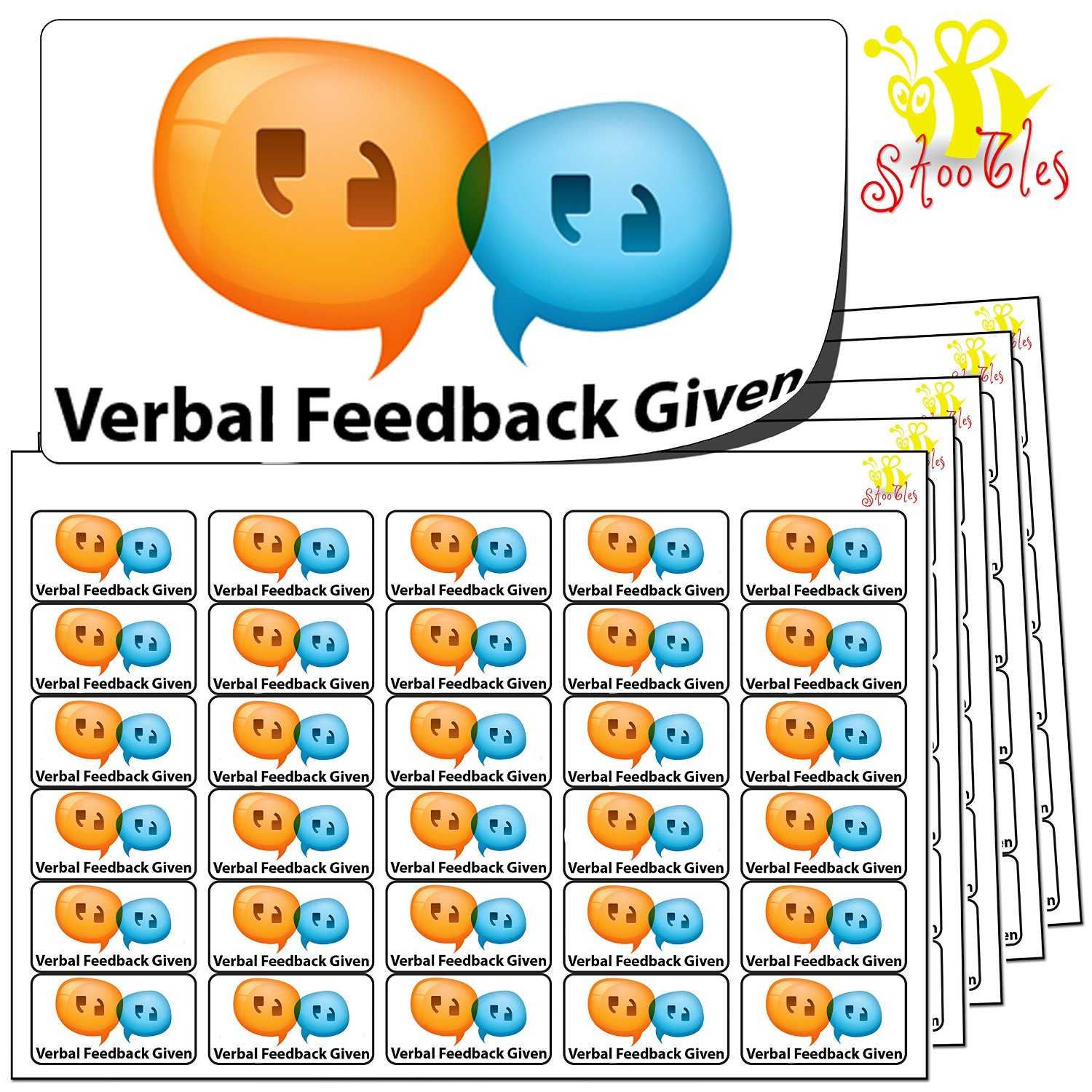 480x Verbal Feedback Given Stickers (38 x 21mm)