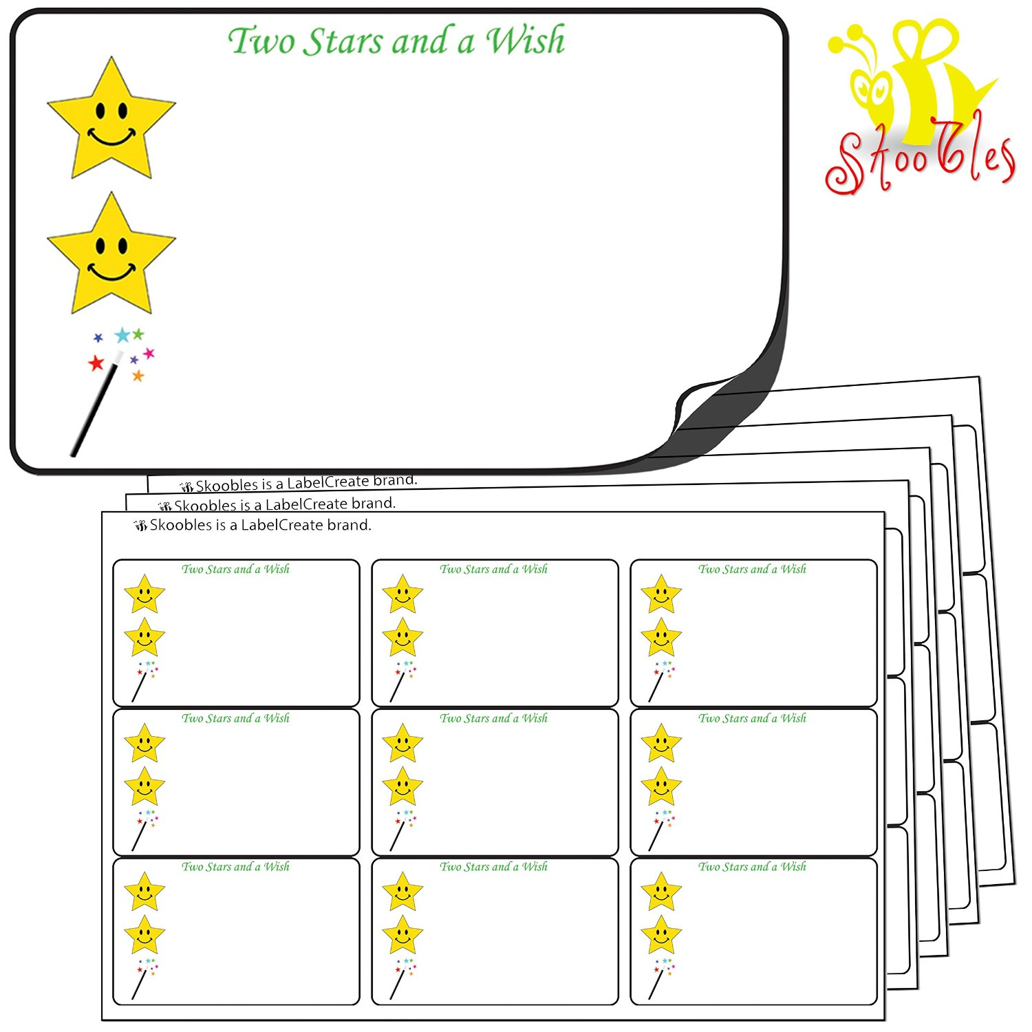 144x Two Stars and a Wish Stickers, White (64mm x 38mm)