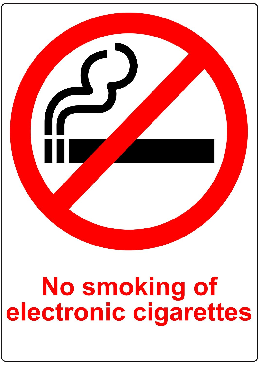 2x WHITE PLASTIC No Smoking Electronic Cigarettes Signs