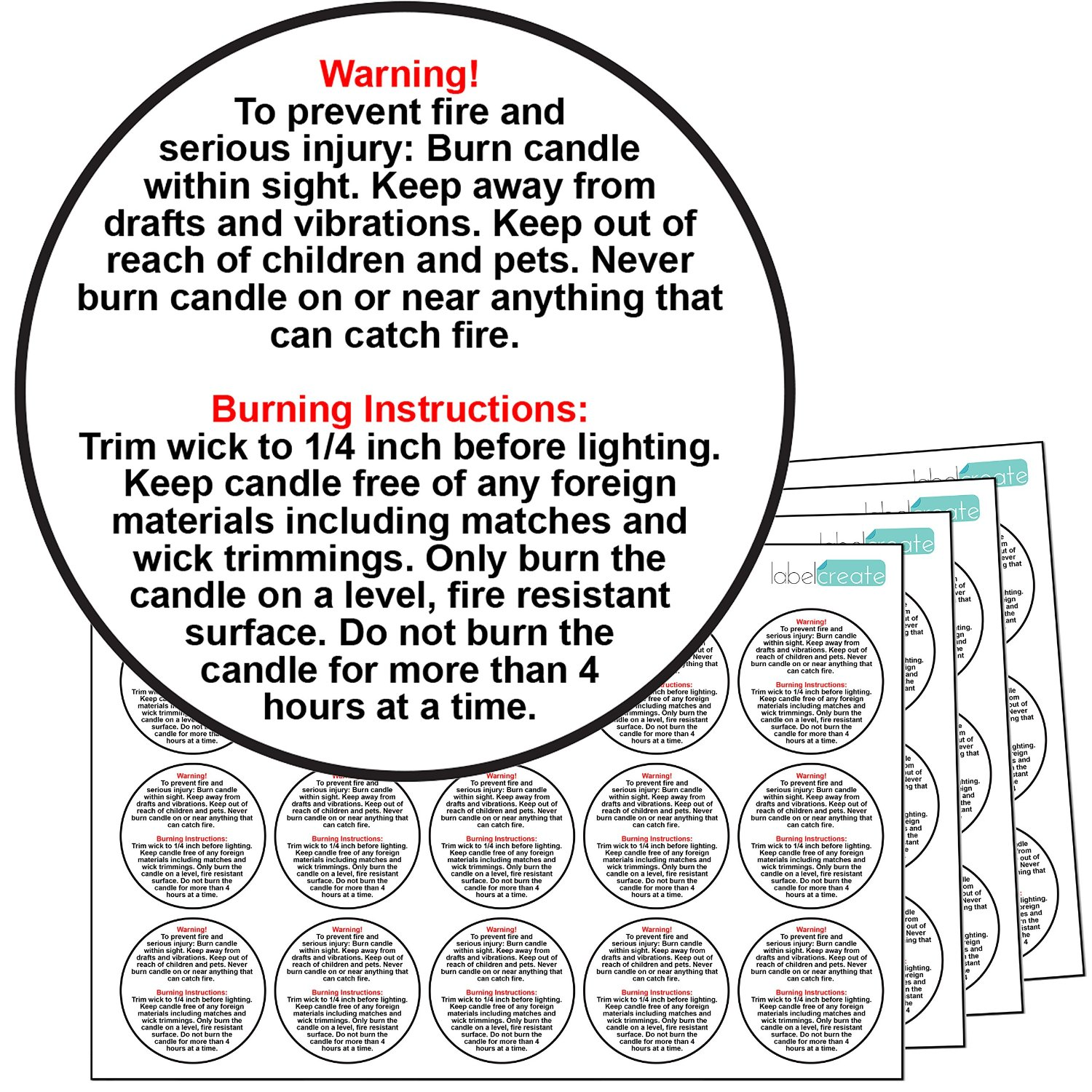 60x GLOSSY TRANSPARENT PLASTIC Candle Warning Labels