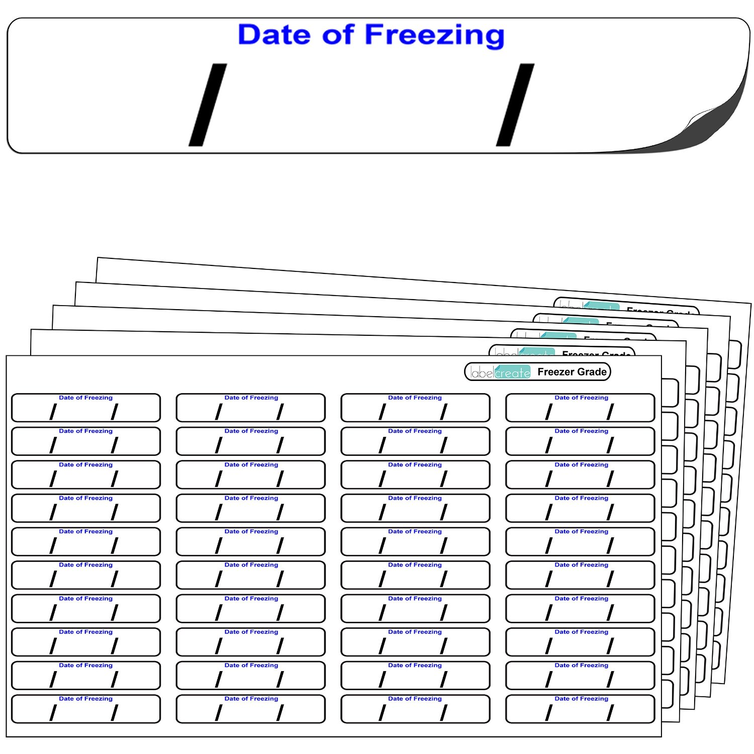"640x ""Date of freezing"" FREEZER GRADE Self Adhesive Stickers"