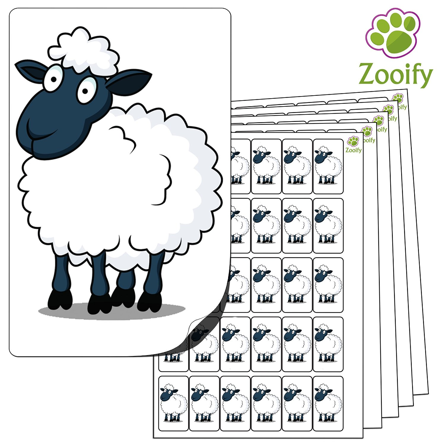 480x Sheep Stickers (38 x 21mm) High Quality Self Adhesive Animal Labels By Zooify