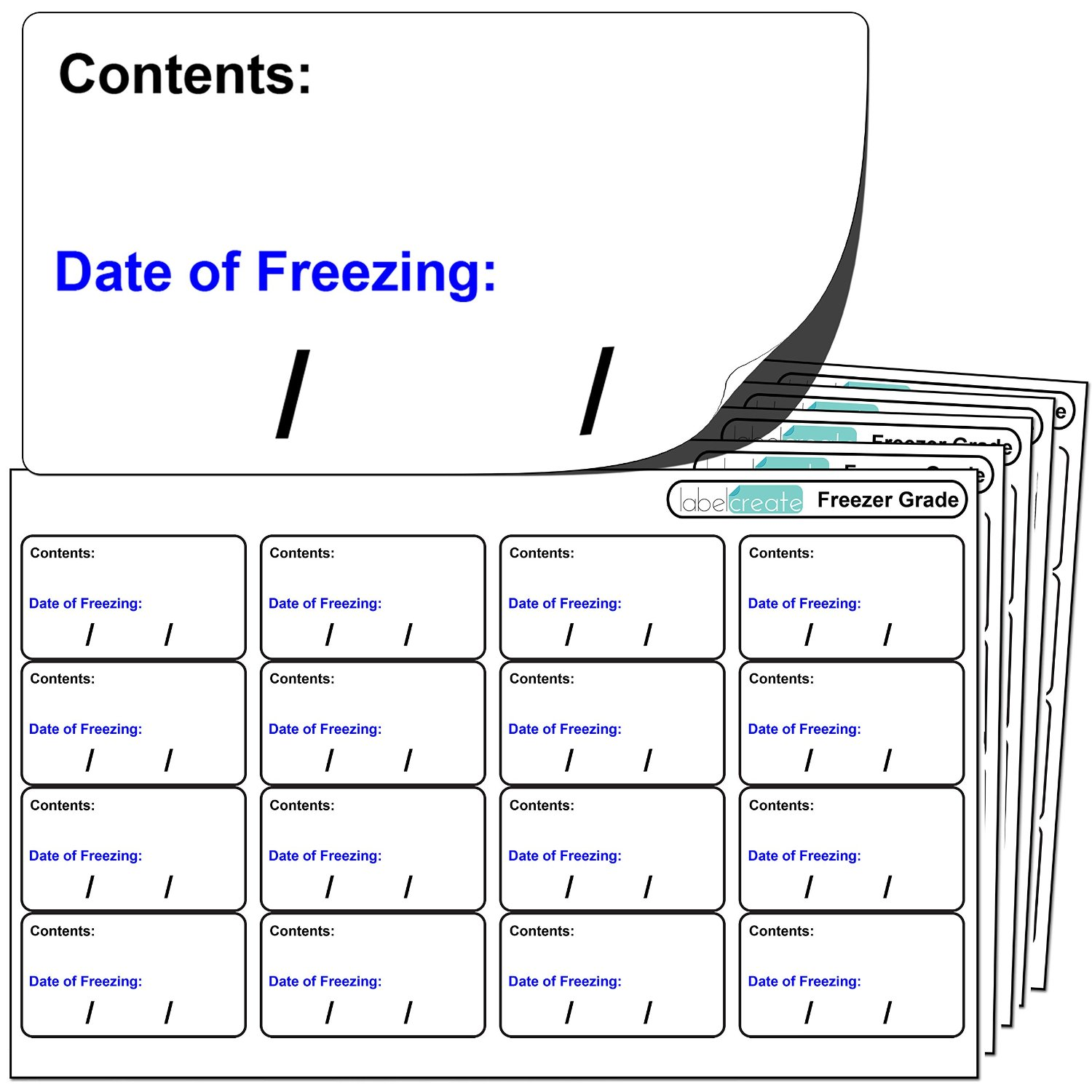 "256x FREEZER GRADE Self Adhesive Stickers. ""Contents: Date of freezing:"""