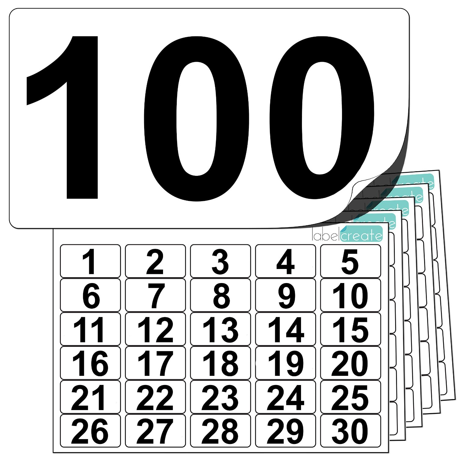 Premium Plastic Number Stickers 1 to 100 (+ 20 Blank Spares)
