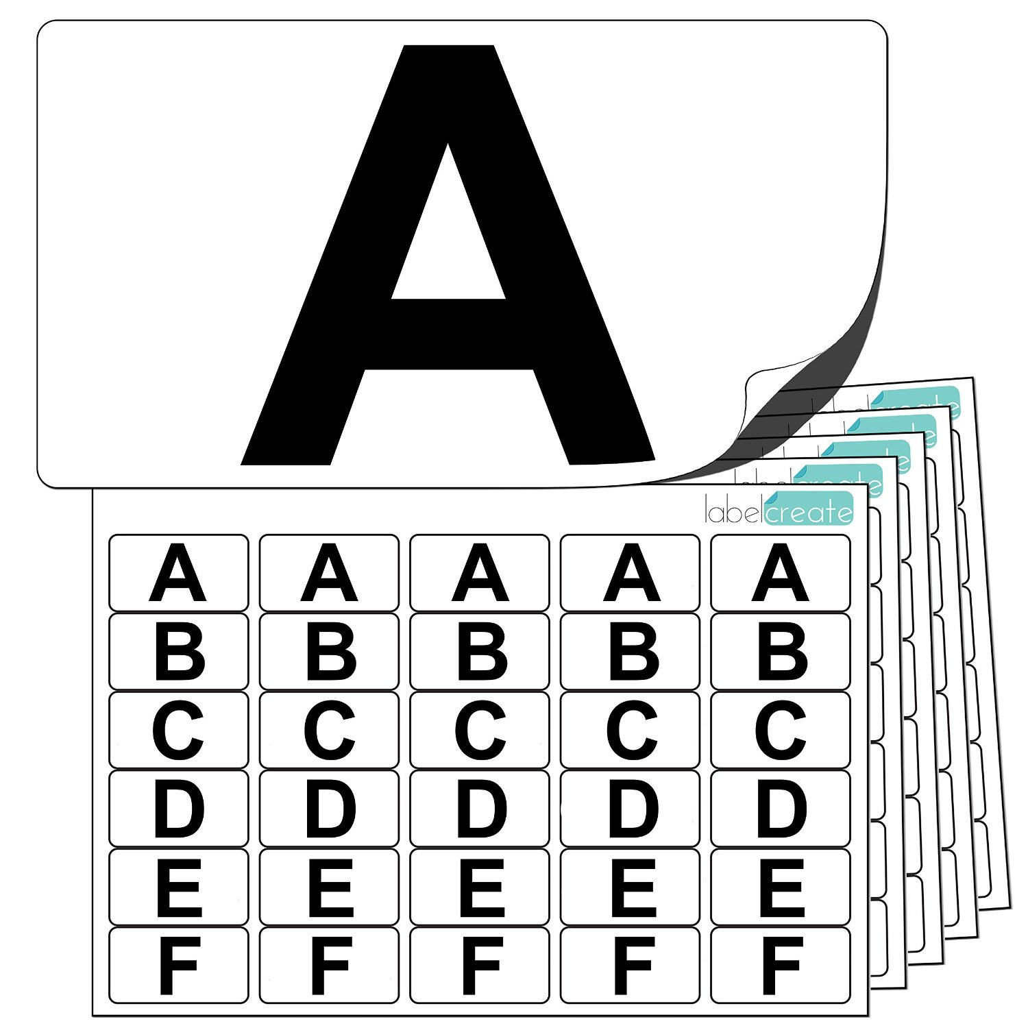 Premium Plastic Alphabet Letter Stickers A to Z (5 of each letter) + 25 Blank