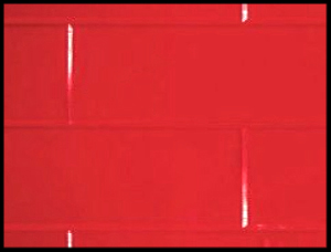Kitchen Splashbacks - Tilepanel Brick, Bevelled Red Horizontal 5036-MTPBHRD