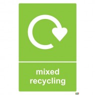 Mixed Recycling bin Sign/Sticker