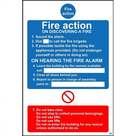 Fire action on discovering a fire safety sign
