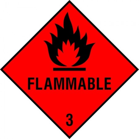 """Flammable 3"" sign"