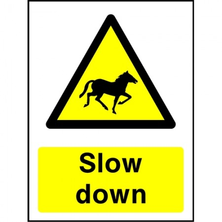 """Warning Horse Slow down"" sign"