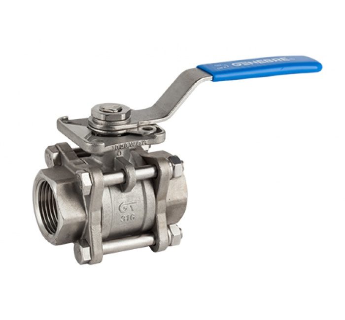 3 Piece 2 way lever ball valves economy with stainless steel body - 1""