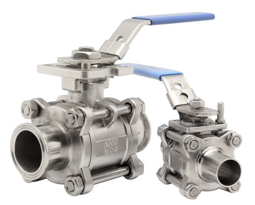 3 Piece 2 way hygienic lever ball valves with stainless steel body