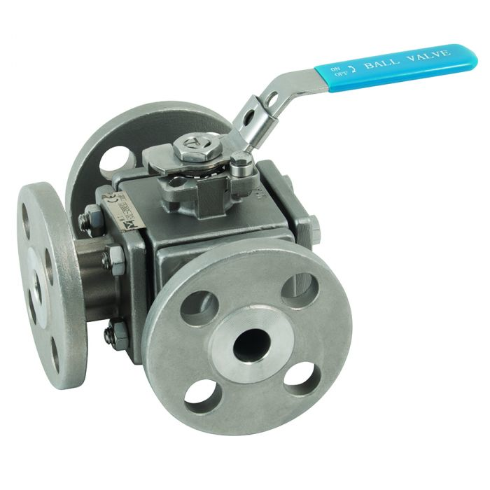 Lever operated stainless steel 3 way ball valve