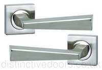 Cannes Satin Nickel Door Handle on Square Rose Fortessa