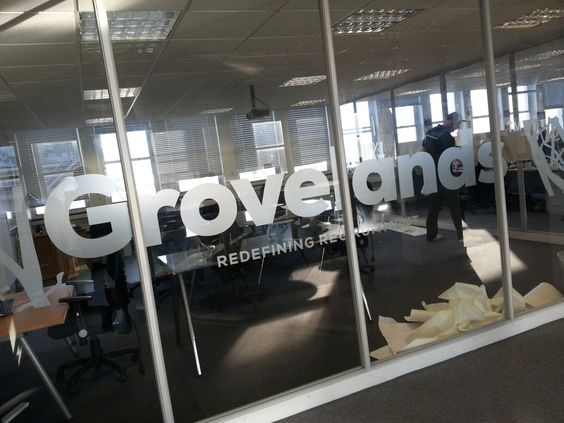 Grovelands frosted window graphics
