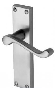 M.Marcus Project Hardware Malvern Door Handle on Latch Plate Satin Chrome