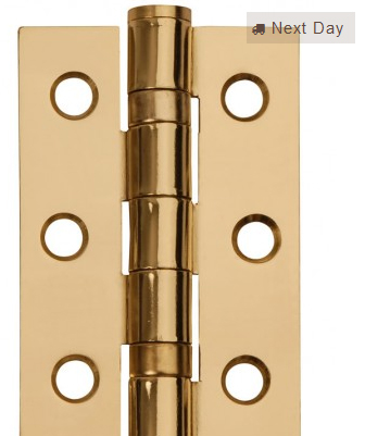 Excel Hardware 76mm Steel Ball Bearing Butt Hinge Electro Brass